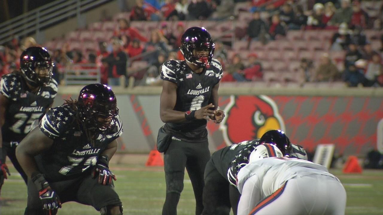 Heisman Trophy-winning quarterback Lamar Jackson played his second-to-last game in Papa John's Cardinal Stadium against Virginia, Nov. 11, 2017.