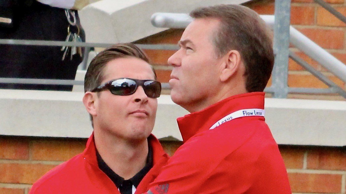 Mark Jurich and Vince Tyra at the Louisville-Wake Forest football game on Oct. 28. (WDRB photo by Eric Crawford)