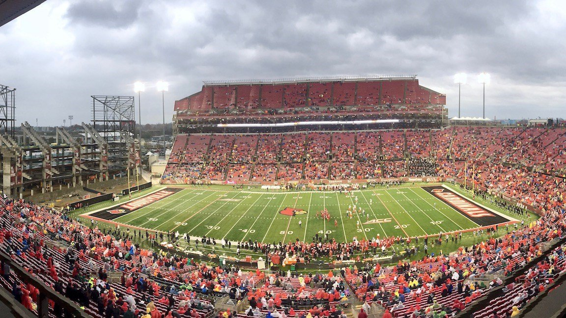Louisville's final home game of 2017 was played on a miserable afternoon in which the stadium had to be evacuated for severe storms. (WDRB photo by Eric Crawford)