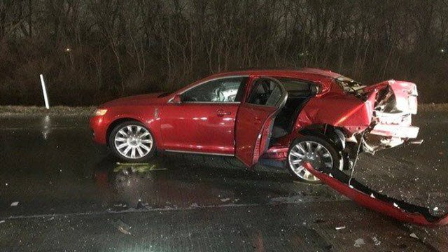 Early investigation by police showed a 2018 Lincoln, driven by 54-year-old Jeffrey Monroe, was stopped on the side of the road when the crash happened. (Photo provided by Indiana State Police)