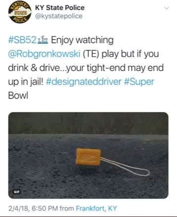 The Kentucky State Police Department has apologized for a Super Bowl tweet that referenced prison rape.