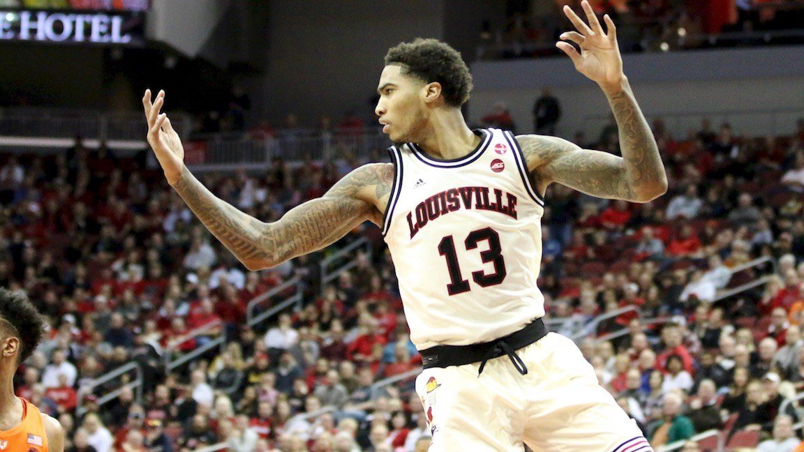 Louisville's Ray Spalding looks for the ball in the second half of Louisville's loss to Syracuse on Monday. (WDRB photo by Eric Crawford)