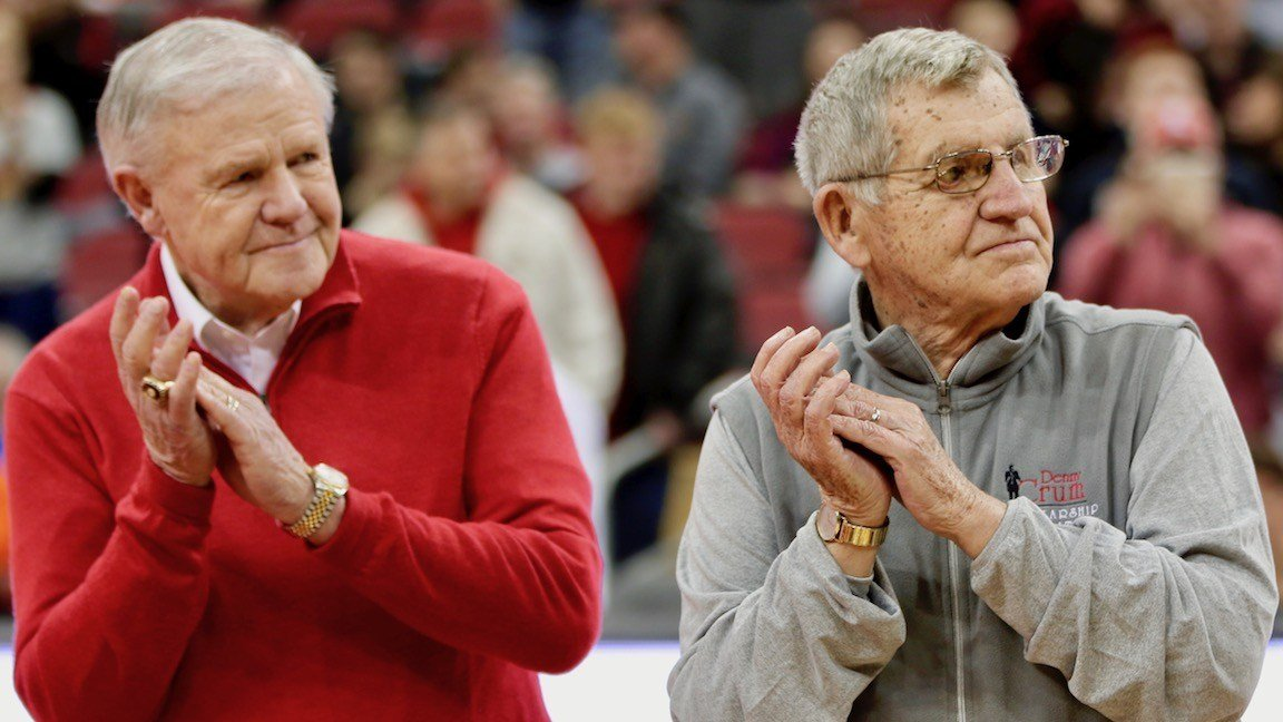 Denny Crum and Jerry Jones, with the 1983 Final Four team, that was honored at halftime (WDRB photo by Eric Crawford)