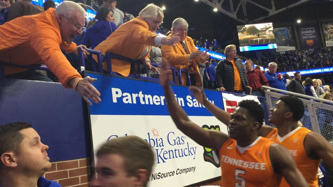 Tennessee's Admiral Schofield celebrated the Vols' win over Kentucky Tuesday.