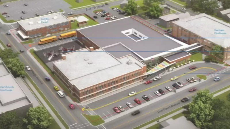 Rendering of the proposed downtown Jeffersonville elementary school.