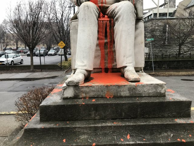 Library employees discovered the vandalized statue of George Prentice on Feb. 7.