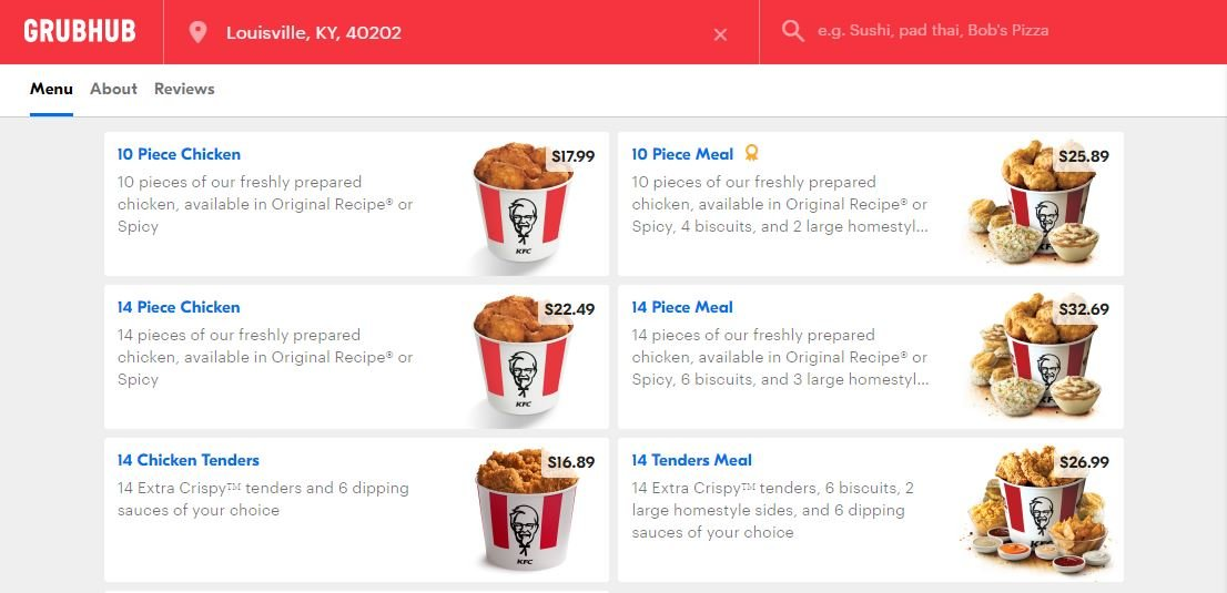 Grubhub is testing KFC delivery in Louisville.