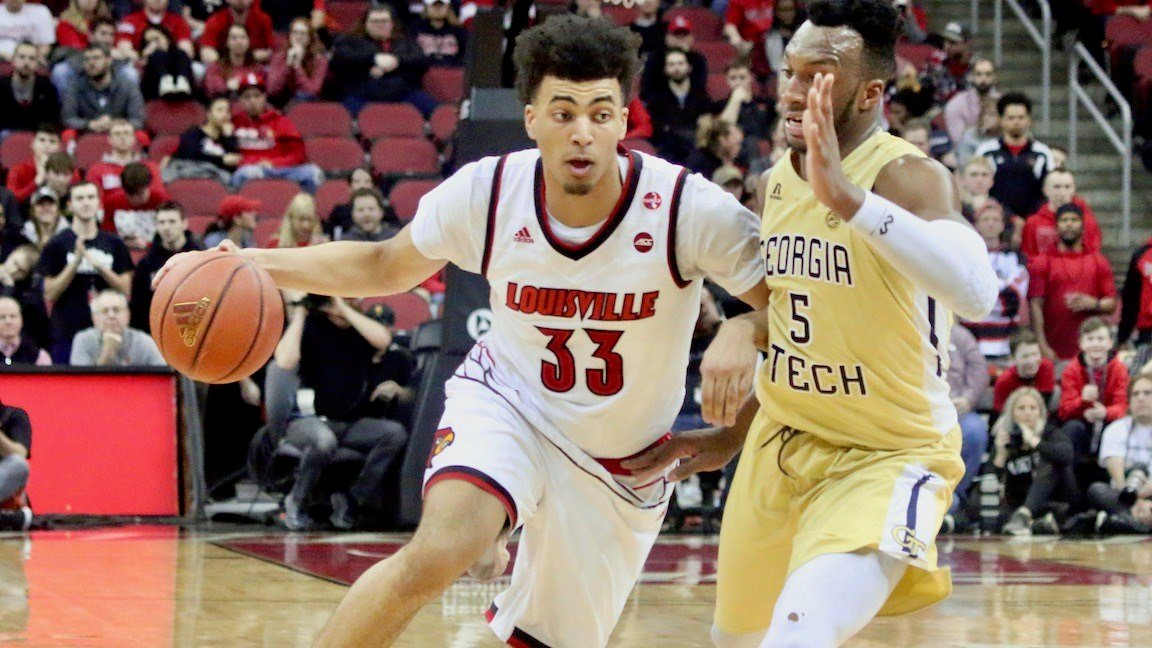 Freshman Jordan Nwora led Louisville with 16 points. (WDRB photo by Eric Crawford)