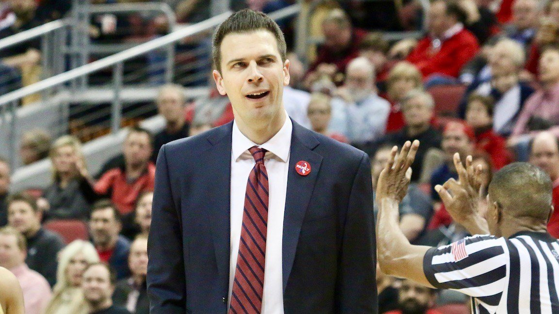 Louisville's David Padgett reacts to a call by Teddy Valentine. (WDRB photo by Eric Crawford)