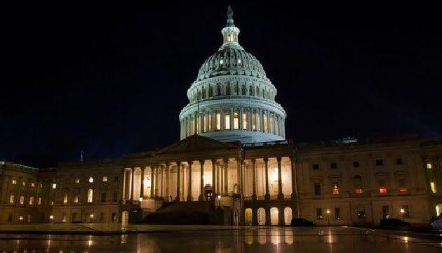 (AP Photo/Jon Elswick). The U.S. Capitol in Washington on Thursday night, Feb. 8, 2018.