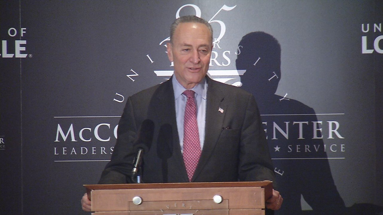 U.S. Senate Minority Leader Chuck Schumer speaking at the McConnell Center on the University of Louisville campus on Feb. 12, 2018.