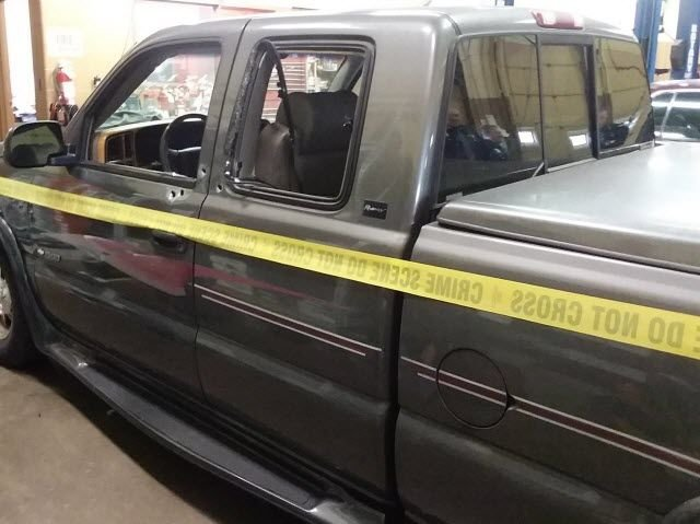 Indiana State Police released this photo of the pickup truck driven by a suspect involved in a shootout with a state trooper on Dec. 12, 2017.