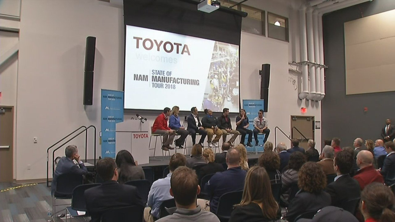Gov. Matt Bevin and other leaders in manufacturing sat on Tuesday's panel in Georgetown.