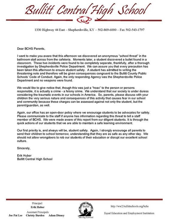 This letter was sent to parents Thursday by Bullitt Central High School Principal Erik Huber.