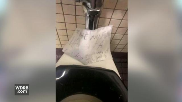 Bullitt Central High School was on lockdown on Feb. 15, after a student found this threatening note in a bathroom. An 18-year-old student has been arrested.