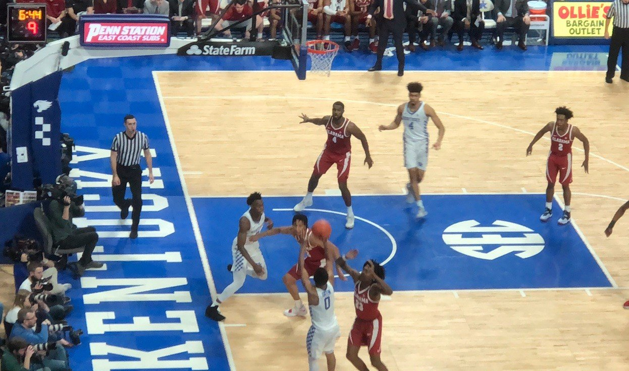 Quade Green drilled a jumper from the baseline in the first half for Kentucky.