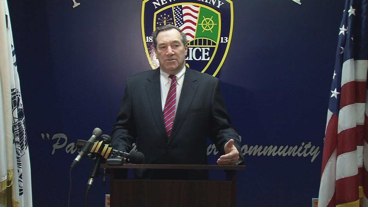 U.S. Senator Joe Donnelly (D-Indiana) spoke at the New Albany Police Department about a new law focusing on mental wellness for police officers on Feb. 19, 2018.