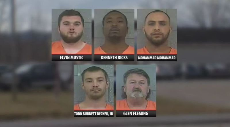 Charges against five men arrested during a drug raid in Bullitt County have been dismissed.