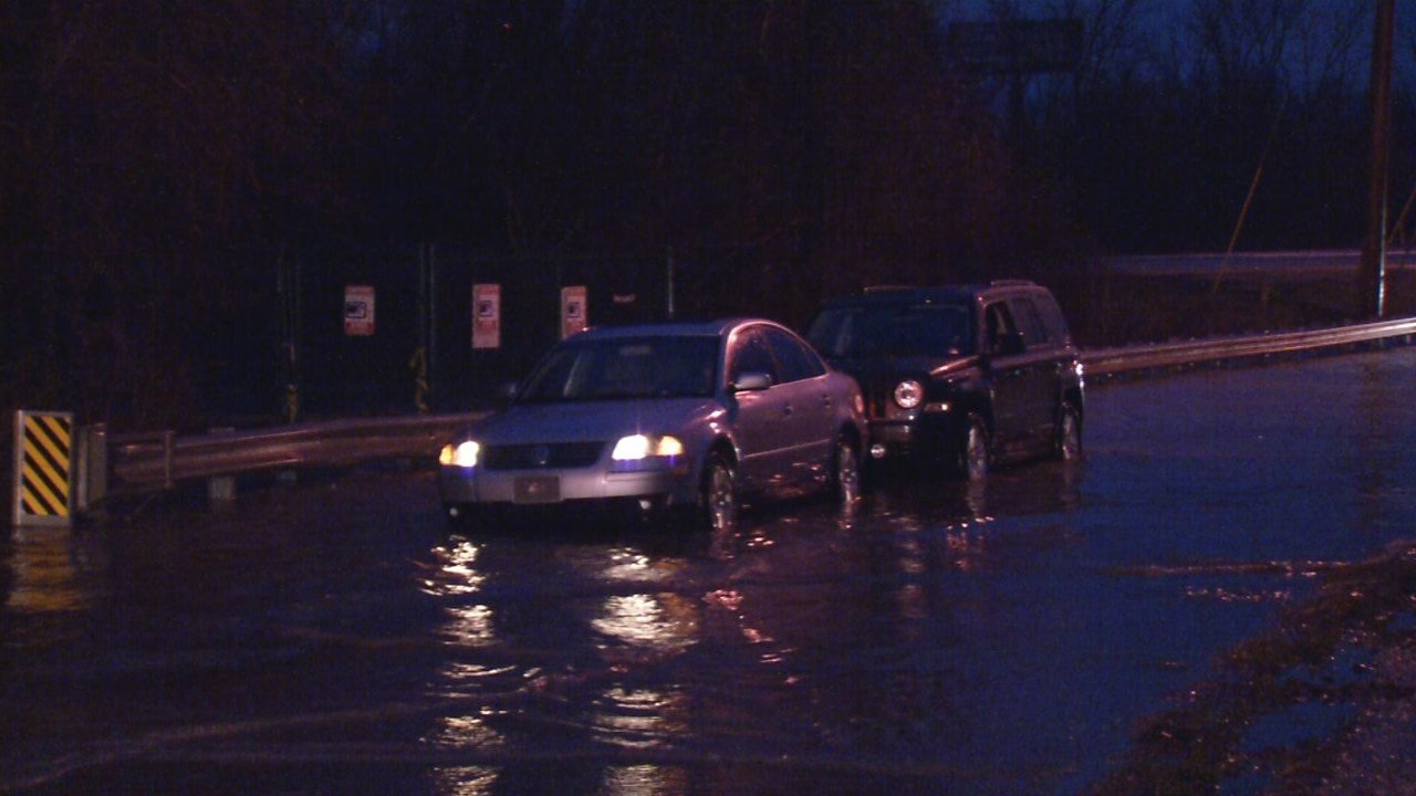 High water surprises some drivers on Mellwood Avenue early on Feb. 23, 2018.