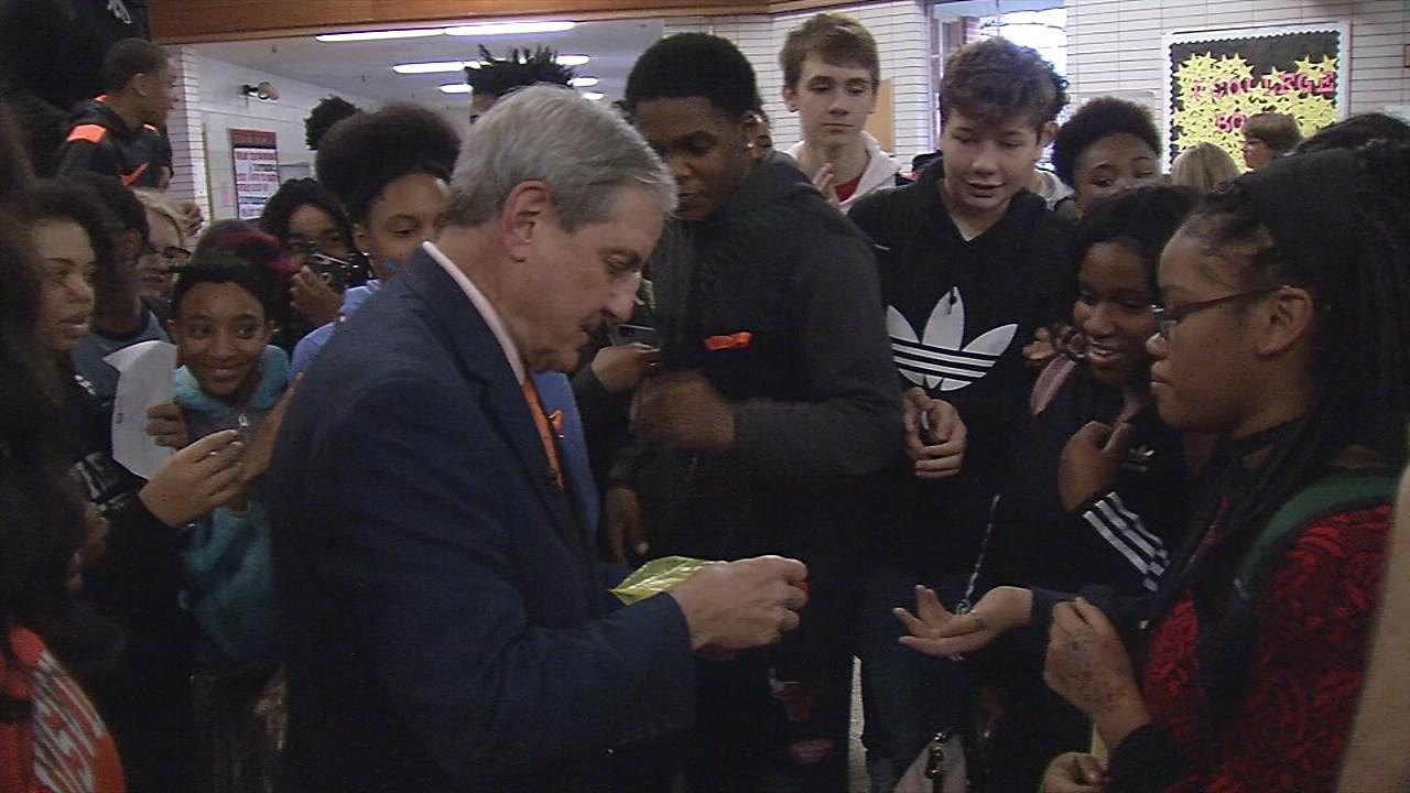 Atherton High School alumnus Kentucky U.S. Congressman John Yarmuth helped pass them out to students between classes.