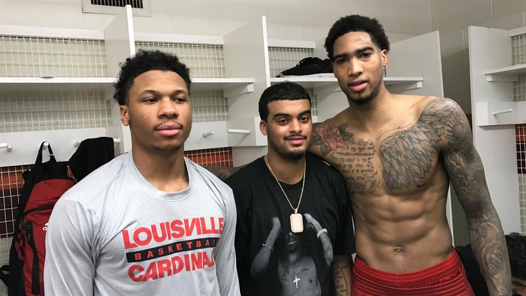 Dwayne Sutton (from left),Quentin Snider and Ray Spalding, three Louisville high school products, keyed the Cards win at Virginia Tech Saturday.