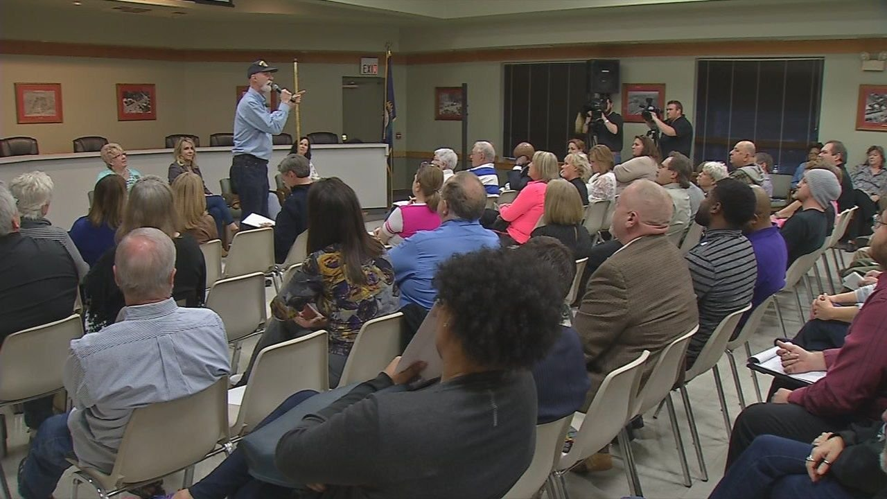 Louisville residents show up for a town hall meeting on Feb. 19 to discuss the legalization of marijuana.