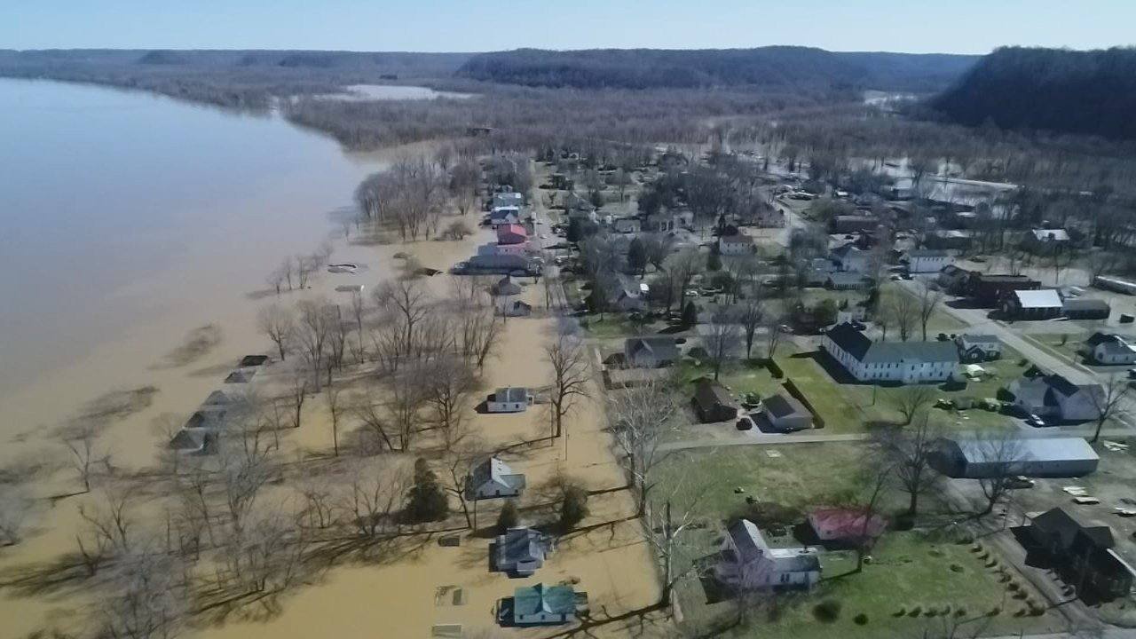 West Point, Kentucky. The Hardin County town of just under 1,000 was swallowed up by the Salt River on one side, and the Ohio River on the other.