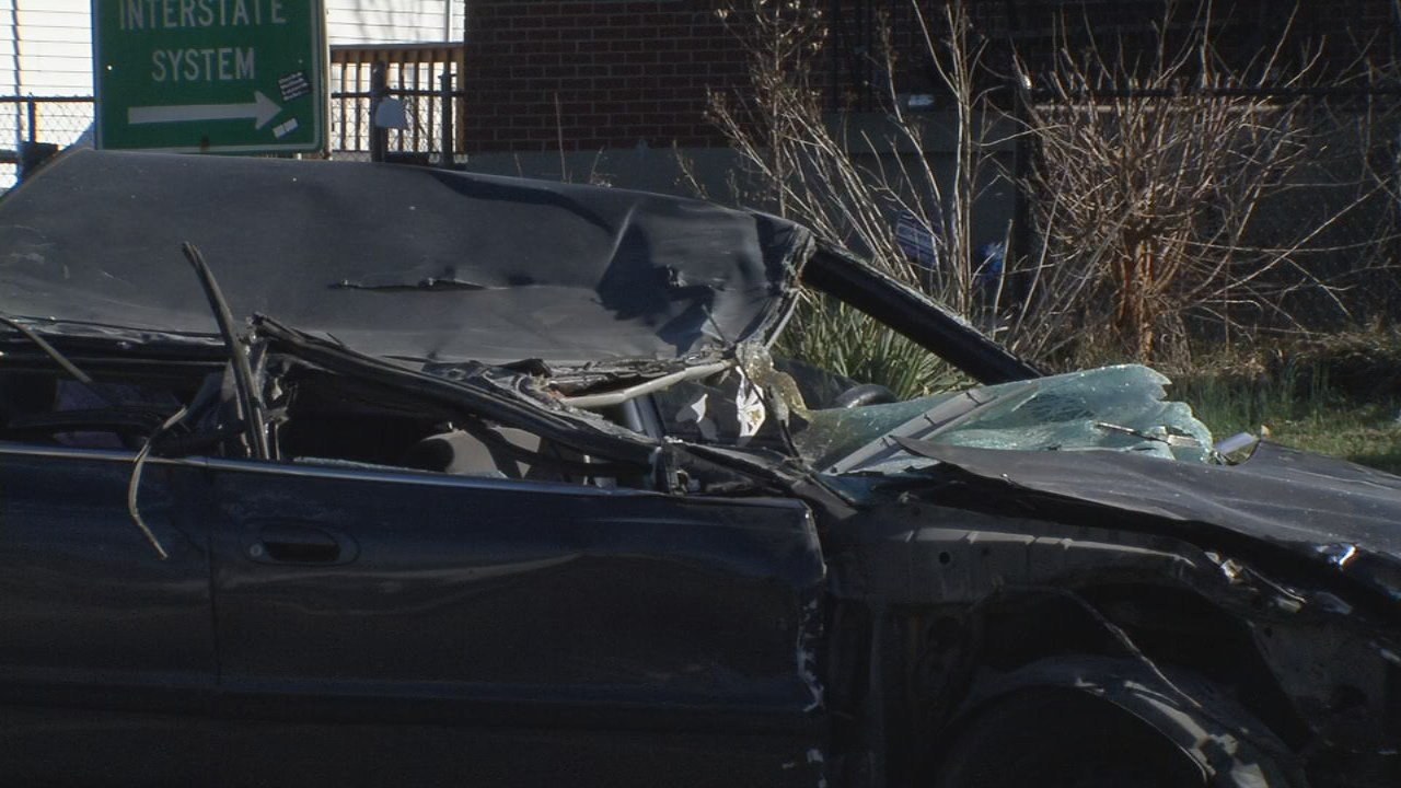 This car was heavily damaged after crashing into a JCPS bus on Feb. 26, 2018.