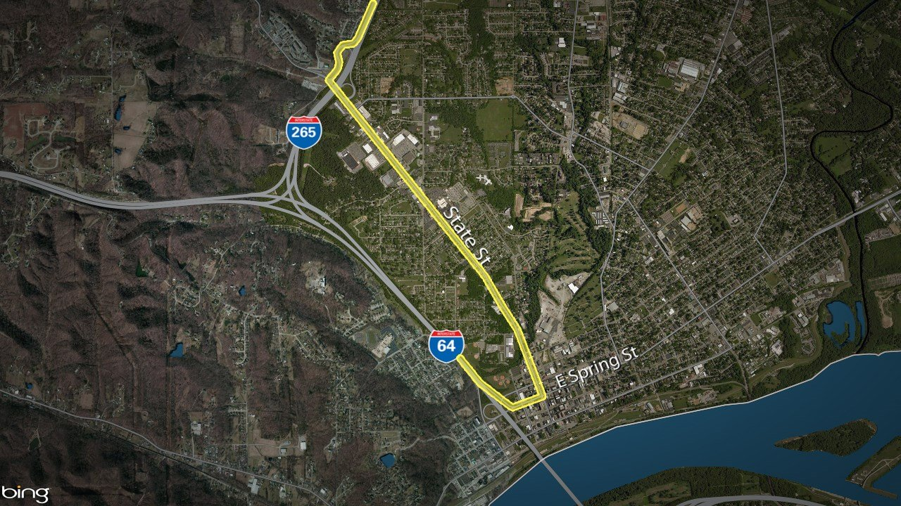 In the first alternative detour, traffic can exit State Street in New Albany and stay on that road to cut through the city's downtown, re-entering I-64 East at Spring Street directly at the base of the Sherman Minton Bridge.