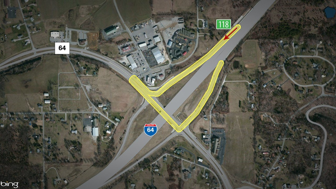 Drivers can also follow I-265 West to I-64 West and go to exit 118, Georgetown, which provides an easy turnaround to get back on I-64the opposite direction.