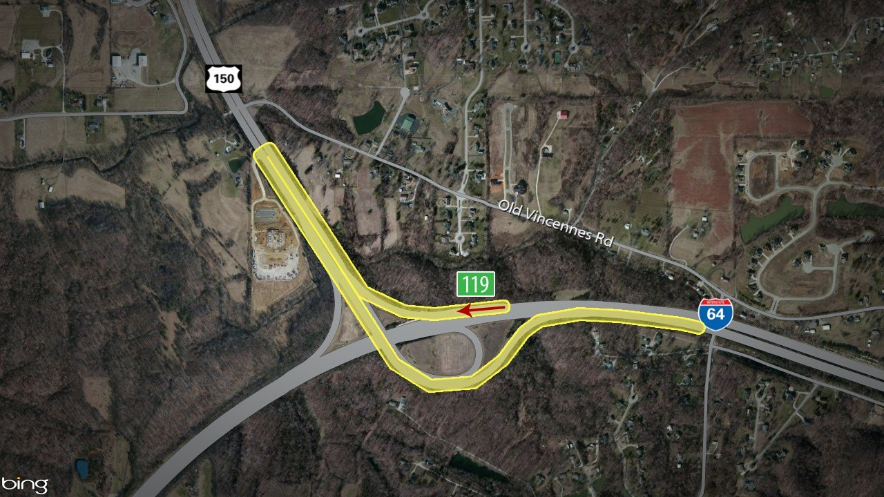 Drivers can also follow I-265 West to I-64 West and go to exit 119, Greenville, which provides an easy turnaround to get back on I-64the opposite direction.
