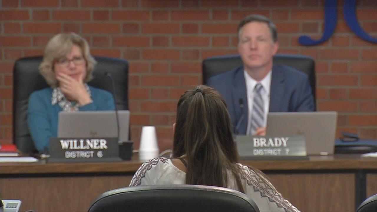 Lily Ades joined several students and parents who addressed the JCPS board at Tuesday night's meeting, asking for thedistrict to spend more money on safety measures.