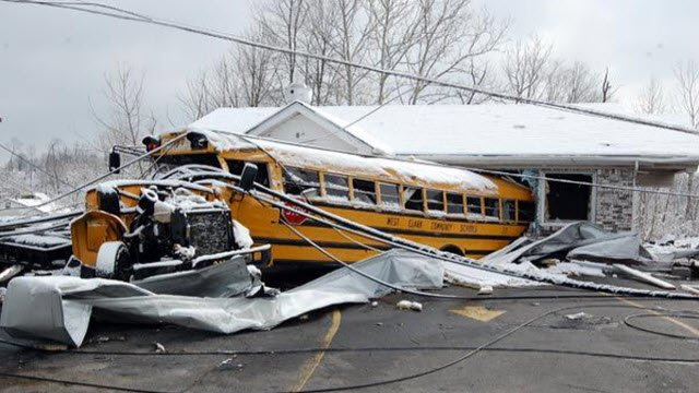 School buses and other vehicles were tossed like toys when a tornado tore through Henryville, Indiana on March 2, 2012.