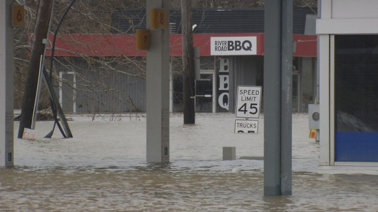 River Road BBQ was engulfed with seven feet of flood water after heavy rains in February.