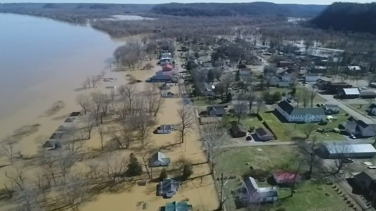 Footage from the WDRB Sky Cam shows the damage as the Ohio River crested in West Point.