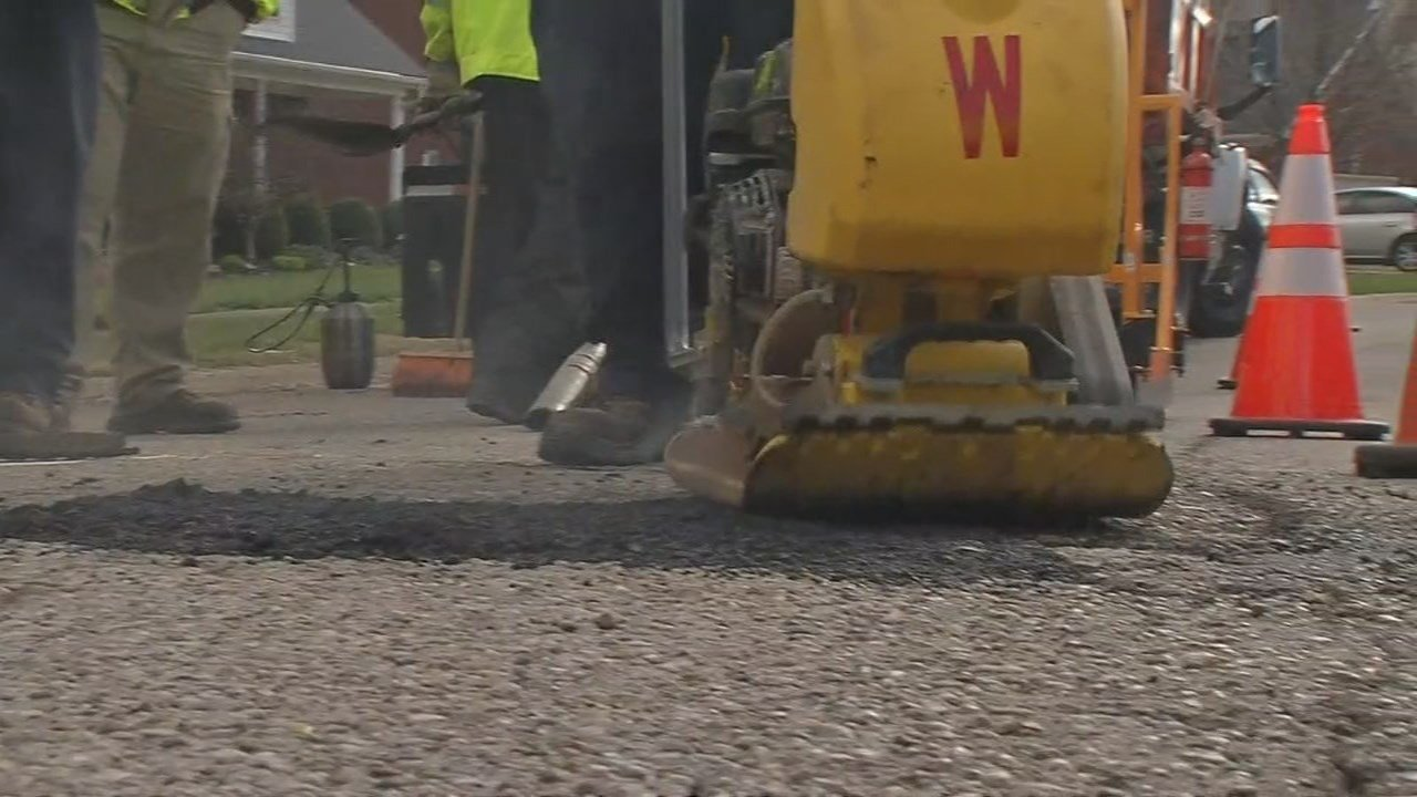"""The city of Louisville kicked off its annual """"Pothole Blitz"""" on Thursday -- and crews had a lot of work ahead of them after the damage from this winter and recent flooding."""