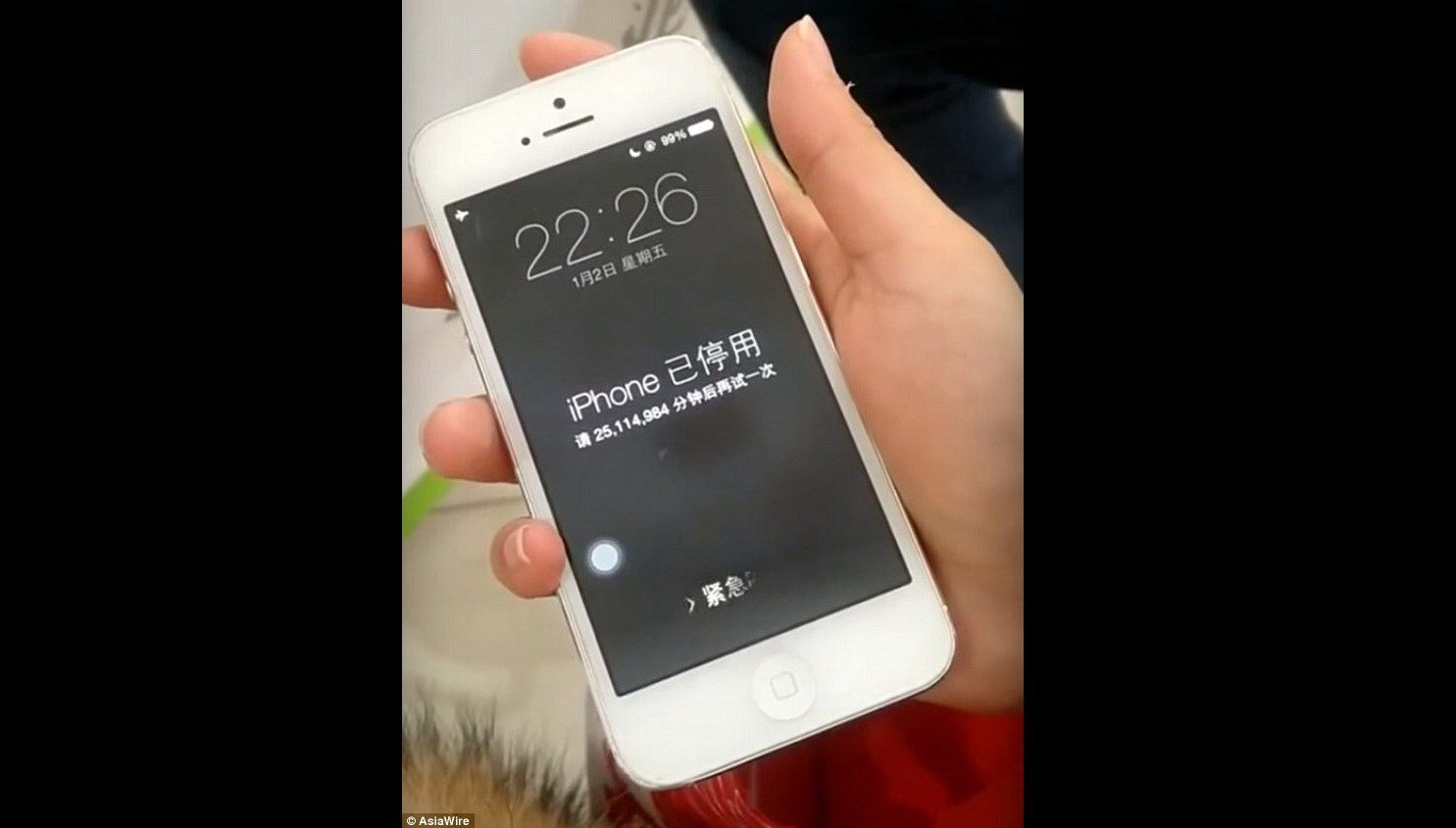A woman in China says her toddler locked her iPhone for 47 years, after repeatedly entering the wrong passcode. @Courtesy Asiawire