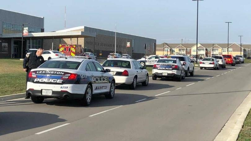 Lexington police are at the scene of Frederick Douglass High School after a report of a gunshot on campus, according to WKYT. (Photo courtesy: WKYT)