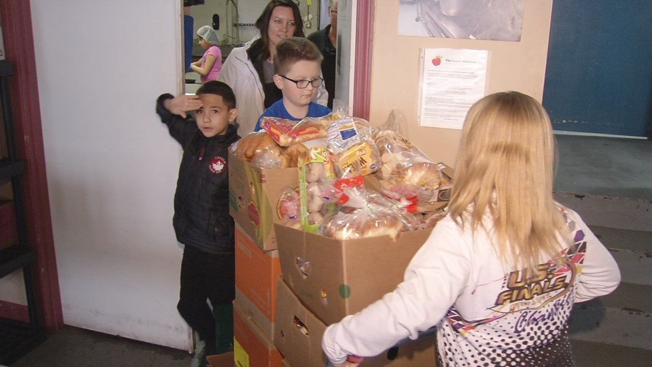These kids didn't just serve, they organized a school-wide food drive, bringing in nearly 550 cans total.