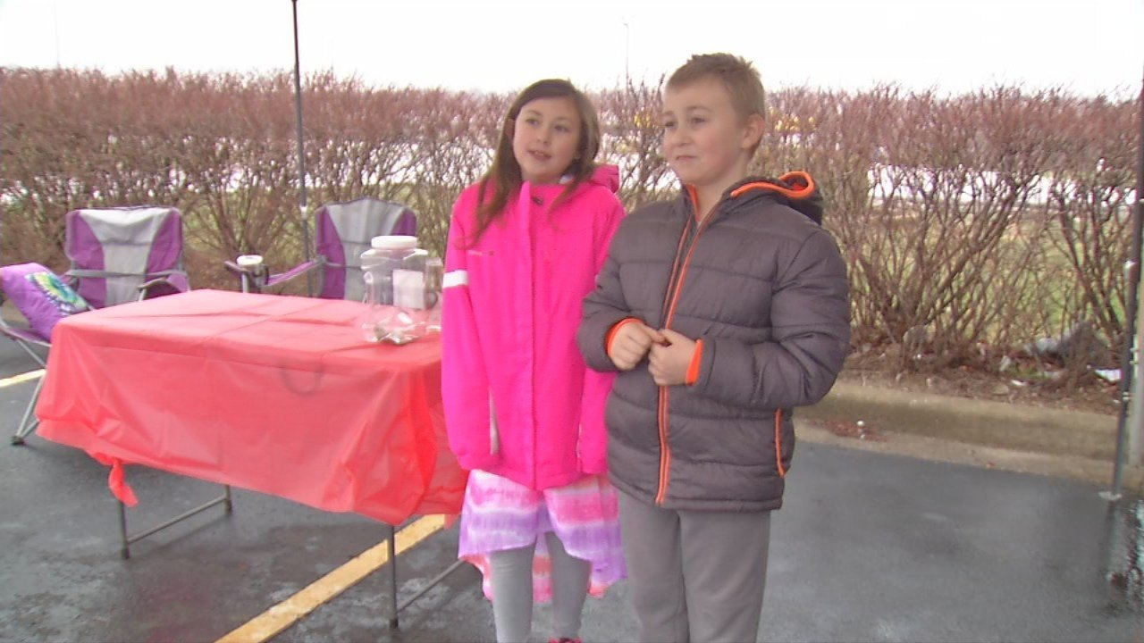 10-year-old Mackenzie Bailey and her nine-year-old brother Hunter organized a donation drive Saturday in Oldham County.
