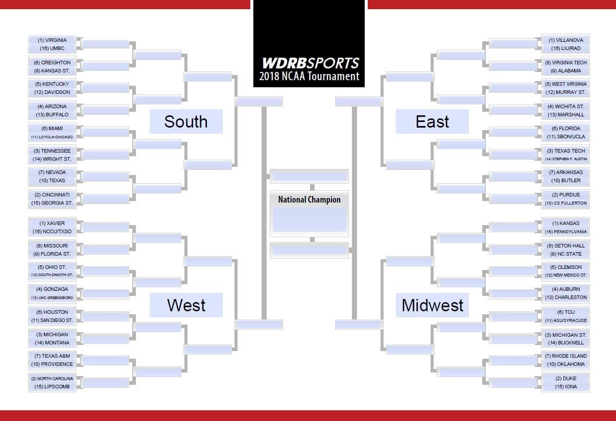 The 2018 NCAA Tournament bracket.