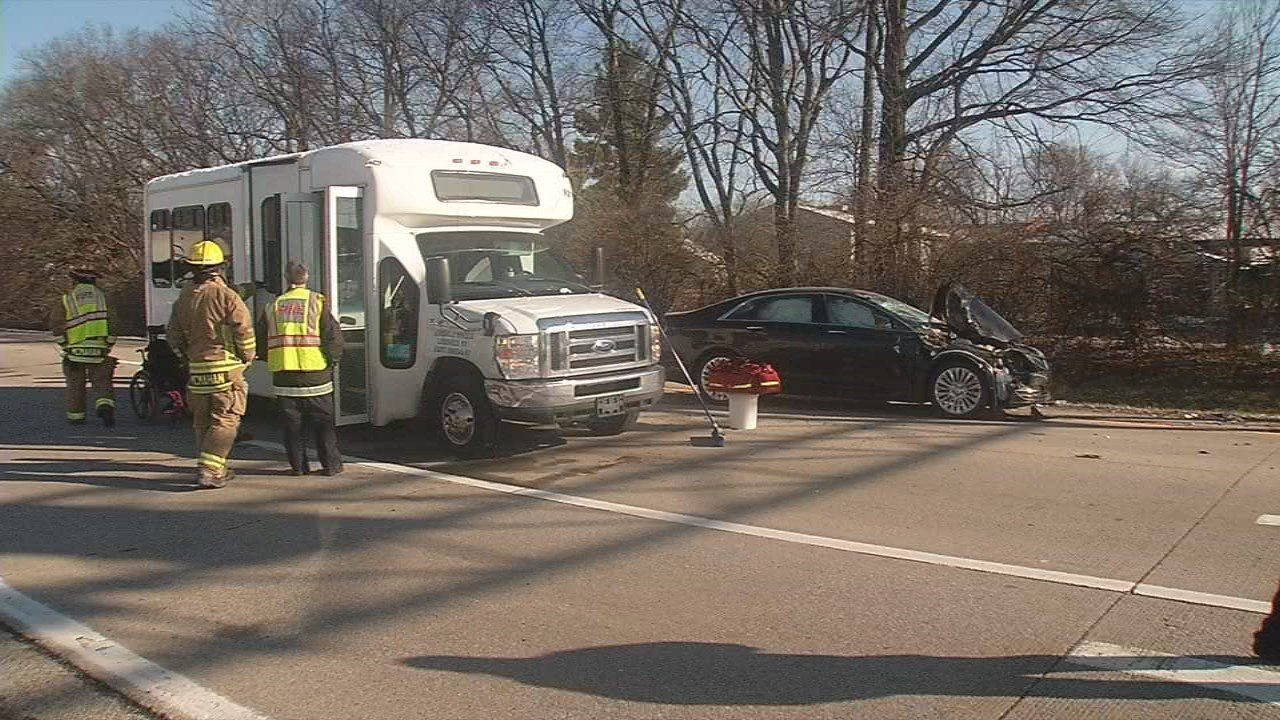 Five special needs adults were hospitalized after a precaution after the bus they were on was rear-ended on I-64E near Hurstbourne Parkway on March 12, 2018.