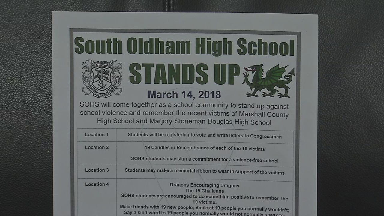Oldham County Schools is encouraging students to make a difference by standing up instead of walking out.