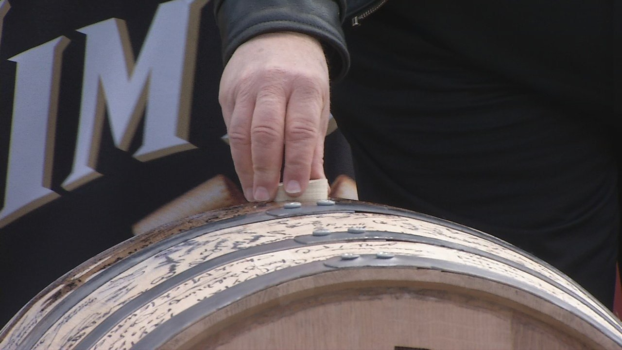 Fred and Freddie Noe filled the bourbon company's 15 millionth barrel Monday afternoon, a count that began at theend of prohibition.