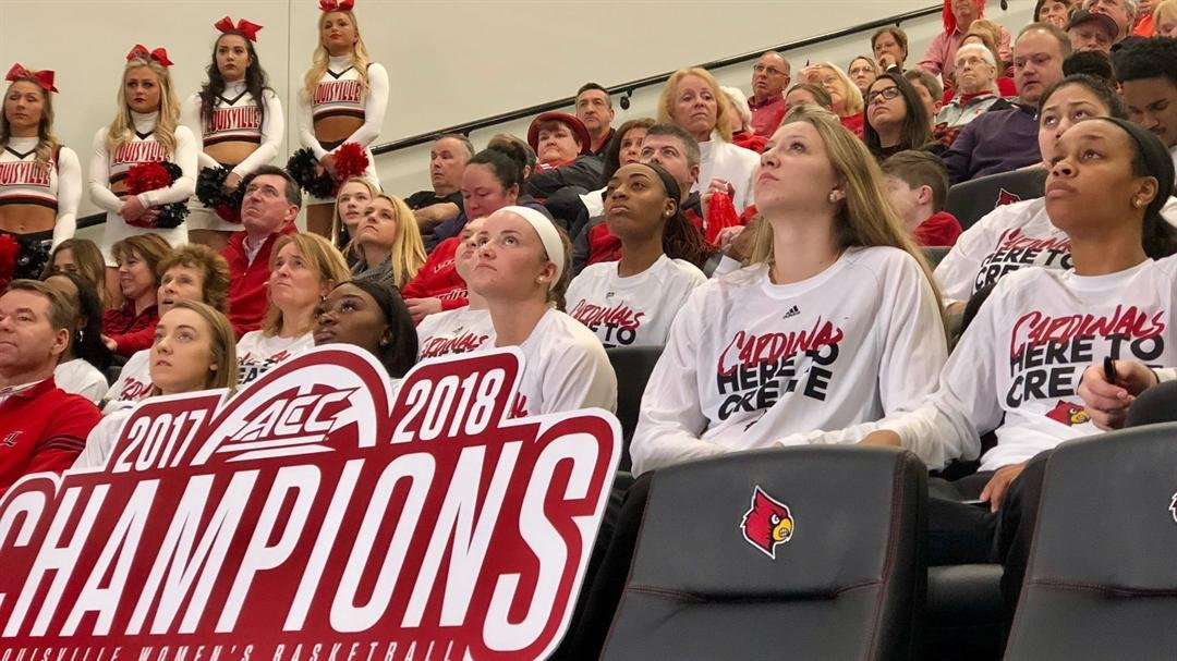 The Louisville women's basketball team watch the NCAA Tournament Selection Show on Monday night.