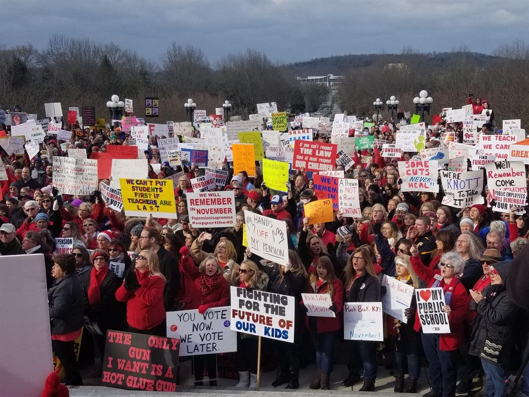 Ashland teachers rally against proposed pension cuts