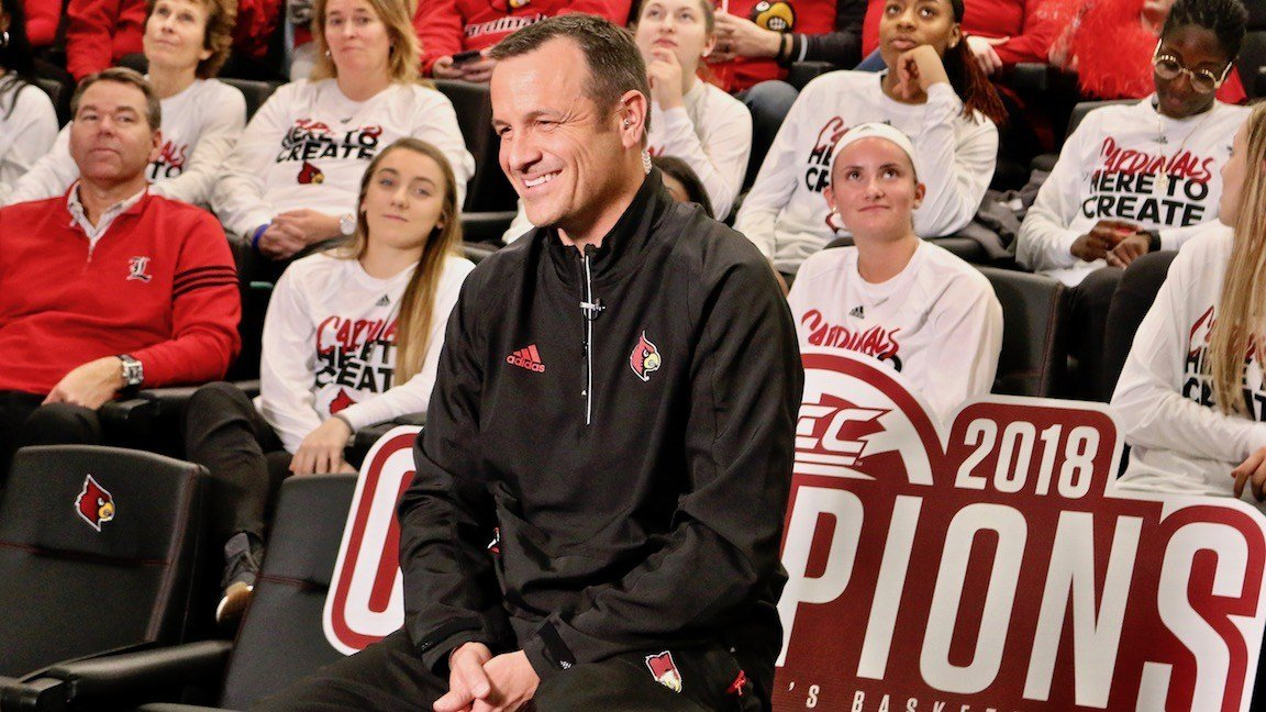 Jeff Walz speaks with ESPN during Monday's women's basketball NCAA selection show (WDRB photo by Eric Crawford)