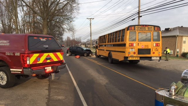 JCPS Bus No. 1240 was involved in a crash with a car on Blue Lick Road on March 13, 2018. More than a dozen students were taken to the hospital as a precaution, along with two occupants of the car.