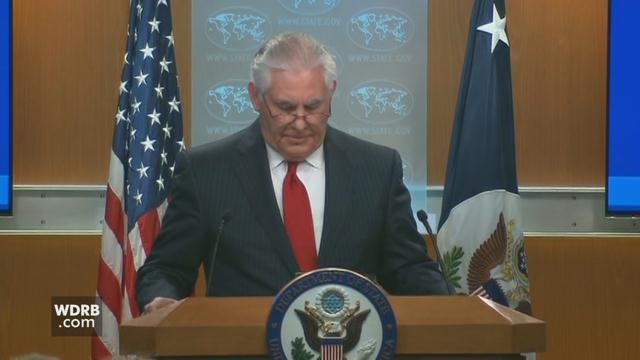 Secretary of State Rex Tillerson addresses the media hours after being fired by President Trump.