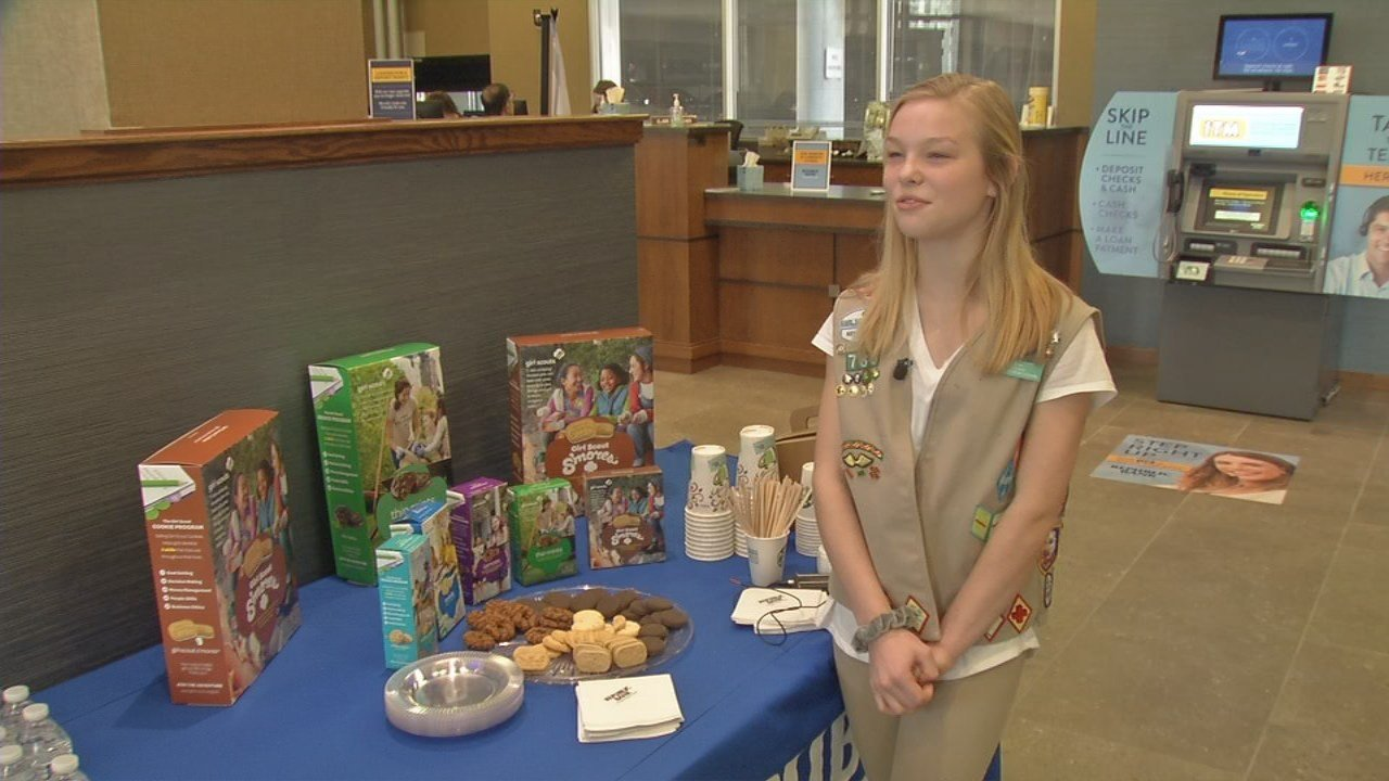 Allie Senn, 14, has to work hard to be a Girl Scout, but credit and debit card transactions have made it a little bit easier.